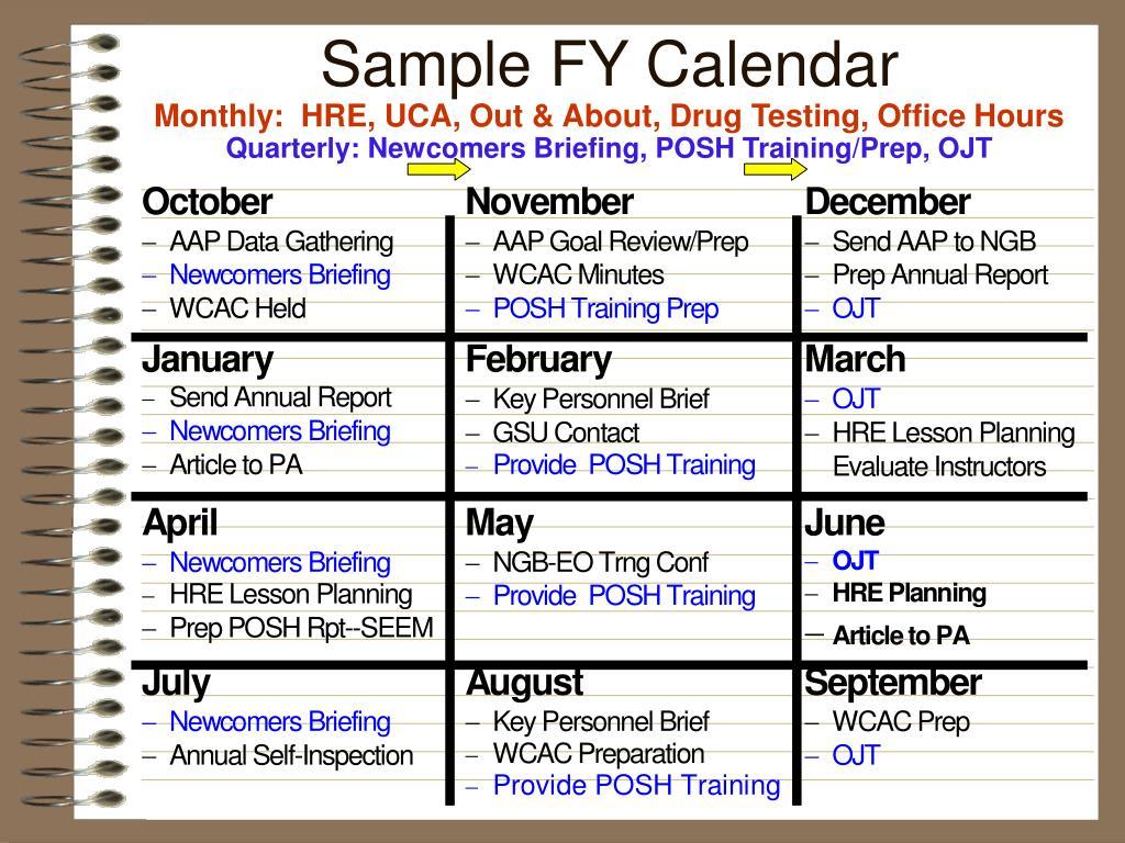 Sample FY Calendar