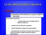 le fasi della procedura operativa1