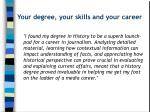 your degree your skills and your career