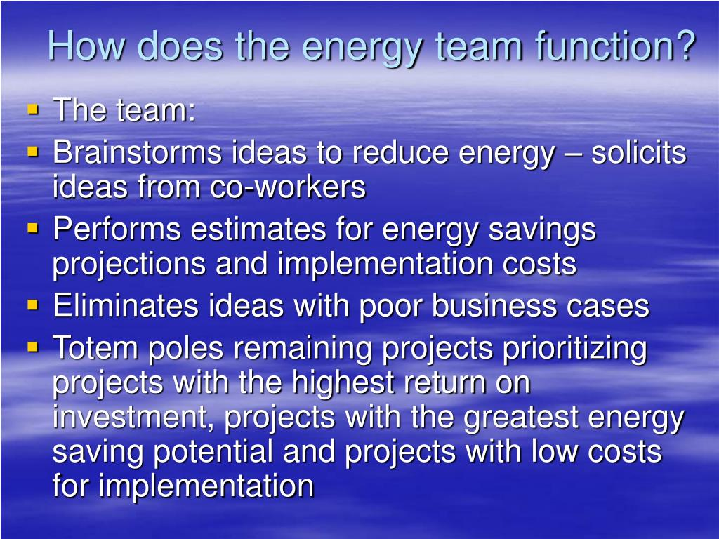 How does the energy team function?