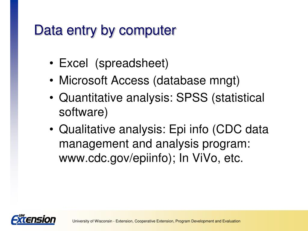 Data entry by computer