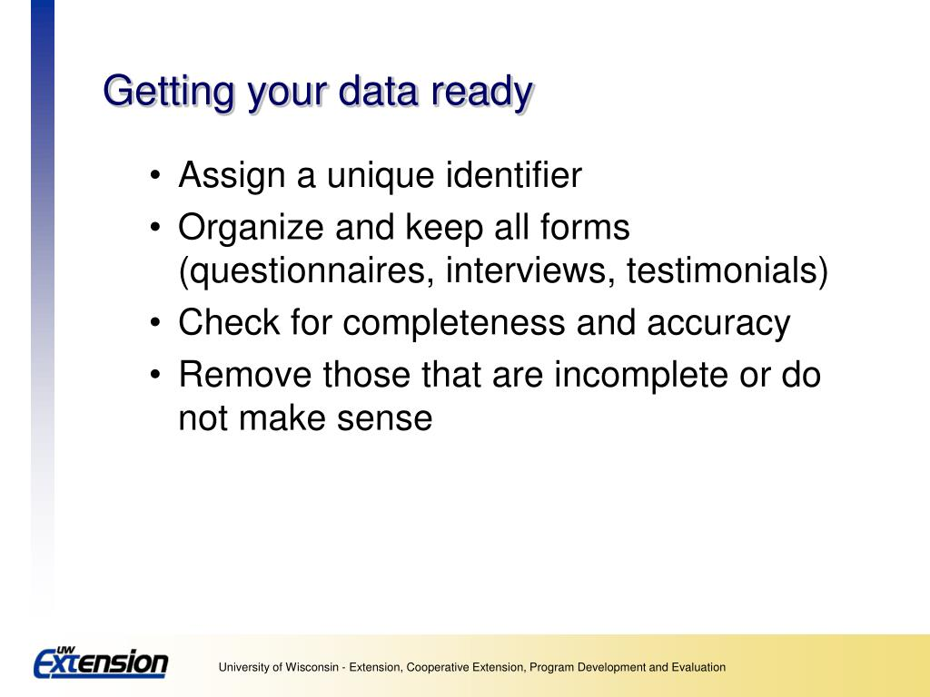 Getting your data ready