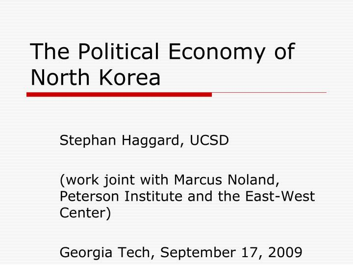 the political economy of north korea n.