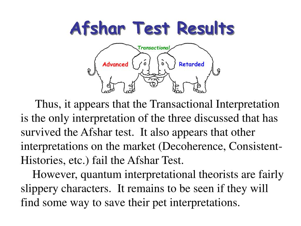 Afshar Test Results