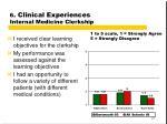 6 clinical experiences internal medicine clerkship