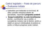 cadrul legislativ foaia de parcurs evaluarea initiala