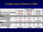 complications primary cabg