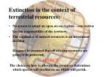 extinction in the context of terrestrial resources