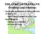 the african elephant problems and solutions