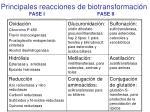 principales reacciones de biotransformaci n