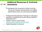 additional resources technical assistance