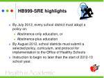 hb999 sre highlights