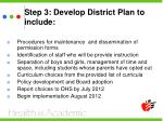 step 3 develop district plan to include