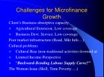 challenges for microfinance growth