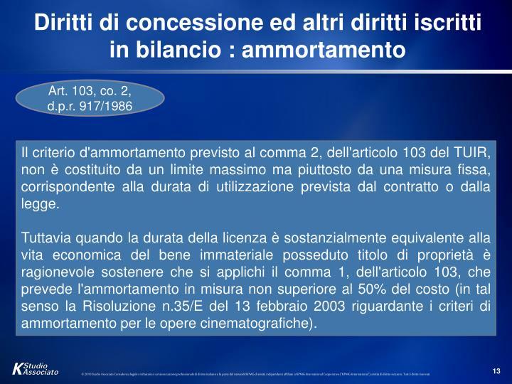 Diritti di concessione ed altri diritti iscritti in bilancio : ammortamento