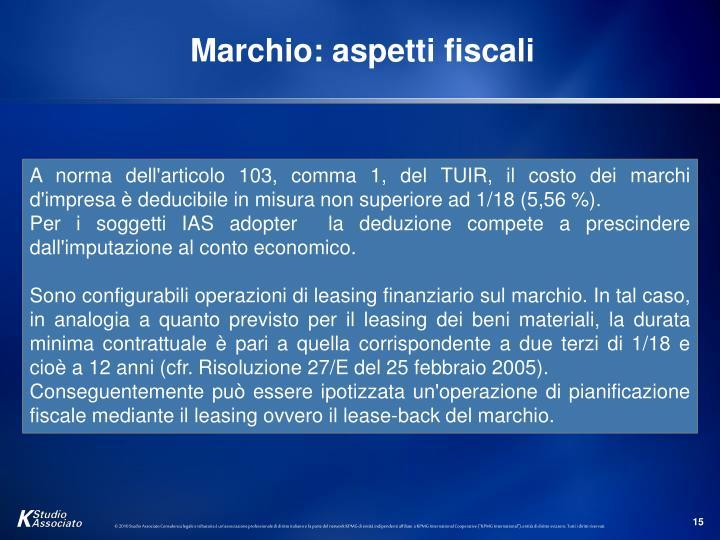 Marchio: aspetti fiscali