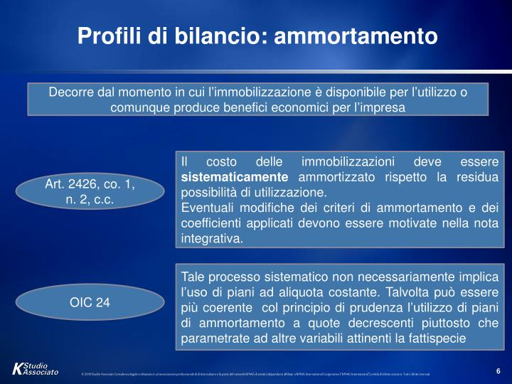 Profili di bilancio: ammortamento