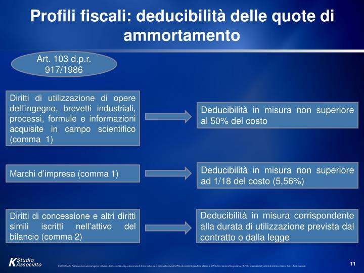 Profili fiscali: deducibilità delle quote di ammortamento
