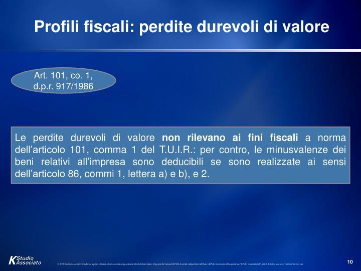 Profili fiscali: perdite durevoli di valore