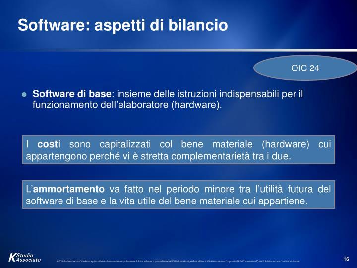 Software: aspetti di bilancio