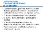 semipresenciales o autonomos trabajo personal aut nomo