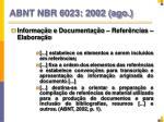 abnt nbr 6023 2002 ago