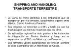 shipping and handling transporte terrestre