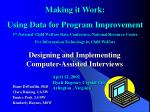designing and implementing computer assisted interviews
