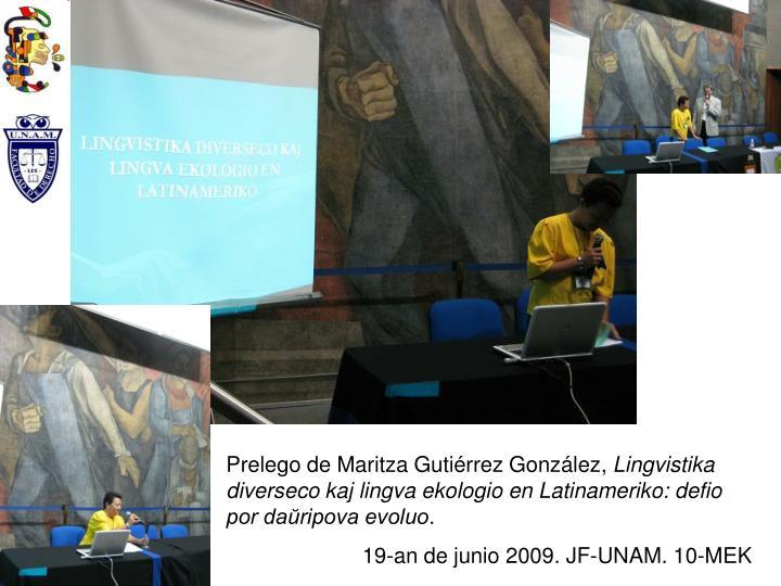 Prelego de Maritza Gutiérrez González,
