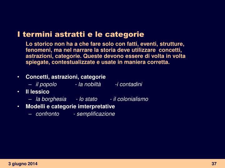 I termini astratti e le categorie