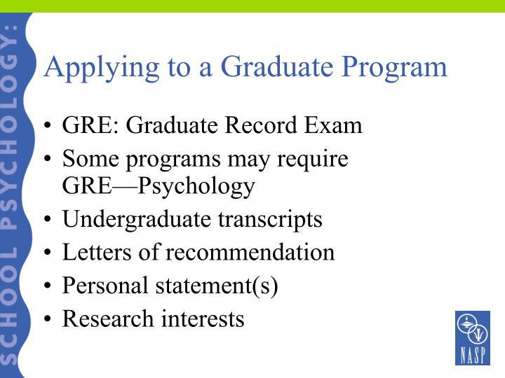 Applying to a Graduate Program