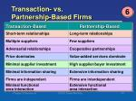 transaction vs partnership based firms