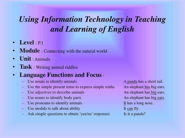 Using information technology in teaching and learning of english2