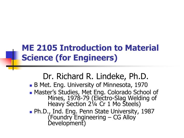 me 2105 introduction to material science for engineers n.
