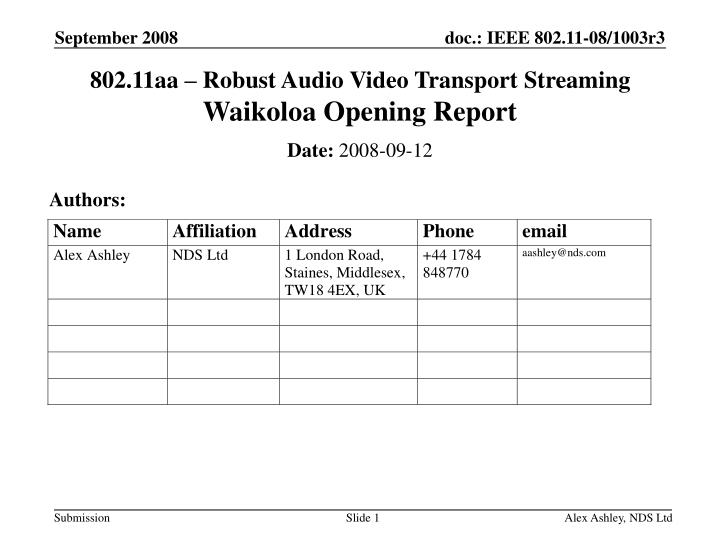 802 11aa robust audio video transport streaming waikoloa opening report n.