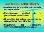 actions entreprises