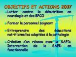 objectifs et actions 2007