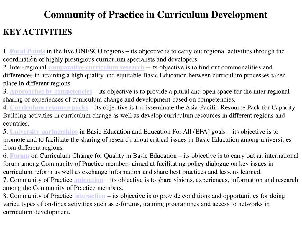 Community of Practice in Curriculum Development