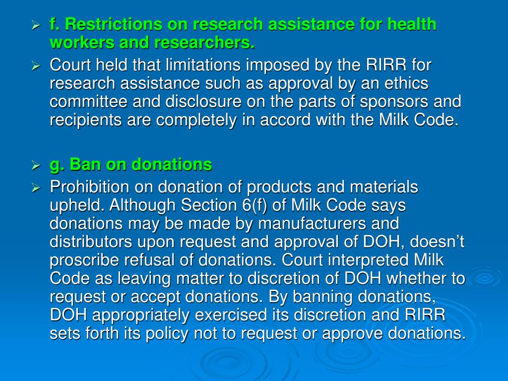 f. Restrictions on research assistance for health workers and researchers.