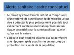 alerte sanitaire cadre conceptuel