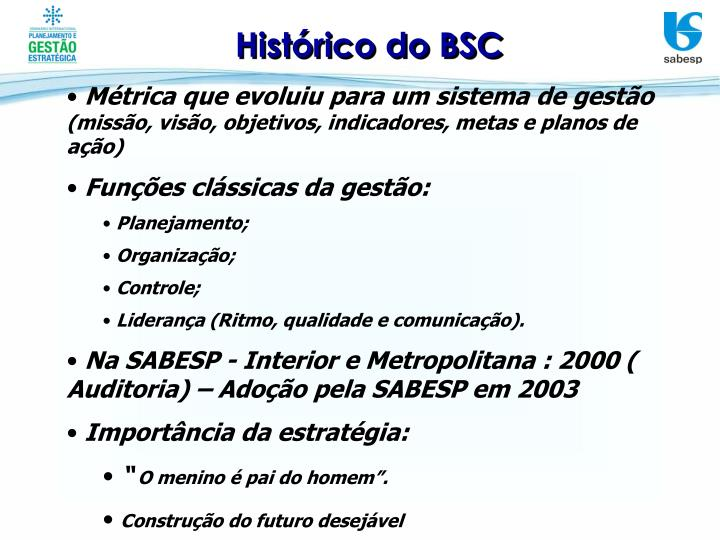Histórico do BSC
