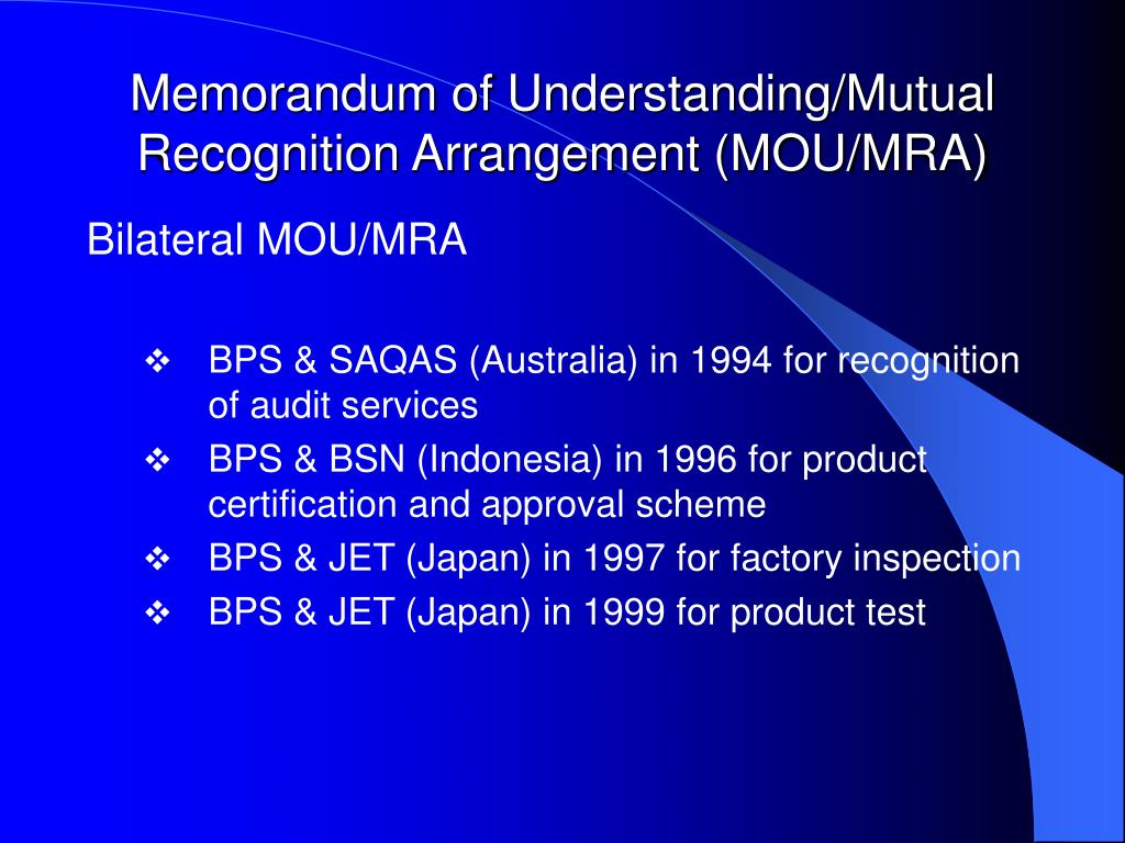 Memorandum of Understanding/Mutual