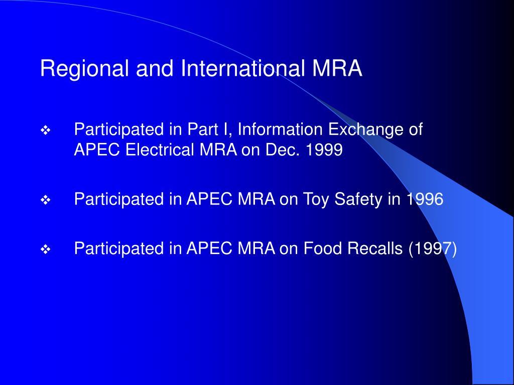 Regional and International MRA