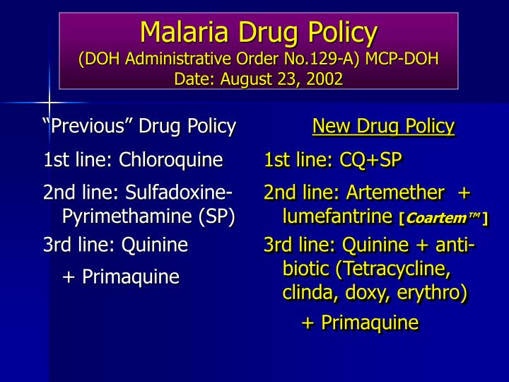Malaria drug policy doh administrative order no 129 a mcp doh date august 23 2002