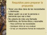 requisitos para preparar la propuesta