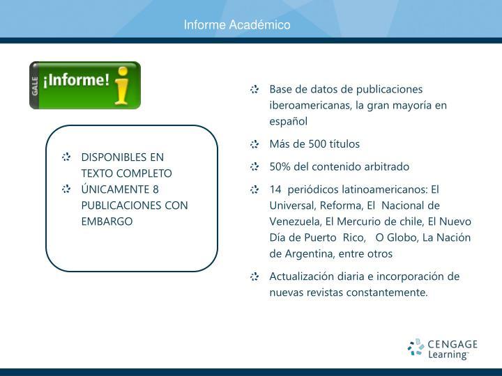 Base de datos de publicaciones iberoamericanas, la gran mayoría en español