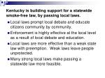 kentucky is building support for a statewide smoke free law by passing local laws