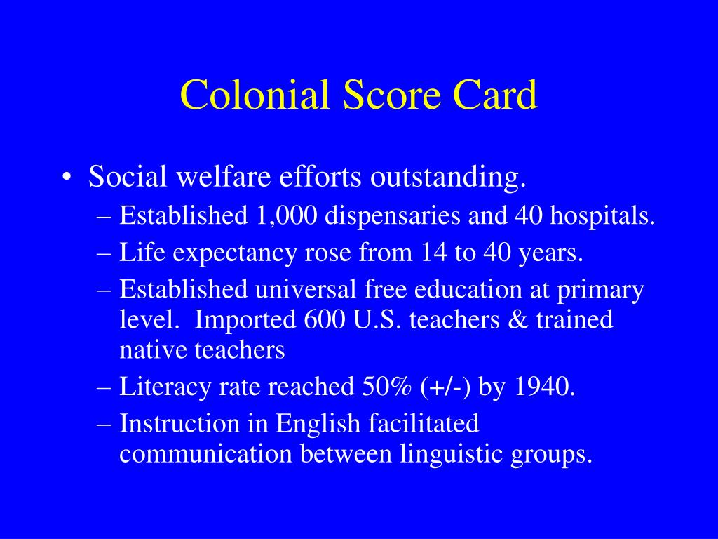 Colonial Score Card