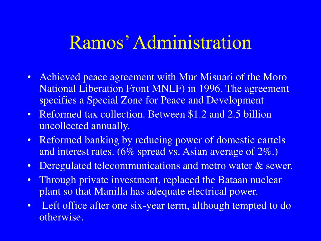 Ramos' Administration
