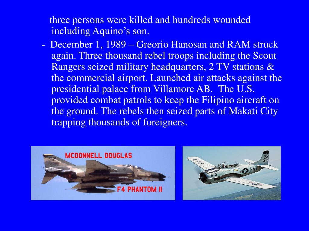 three persons were killed and hundreds wounded including Aquino's son.